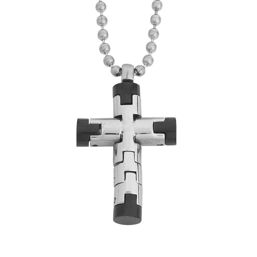 Stainless Steel Silver and Black Mens Cross Necklace 55cm