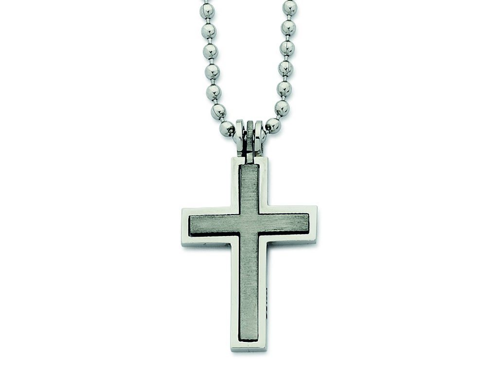 Stainless Steel 55cm Cross Necklace