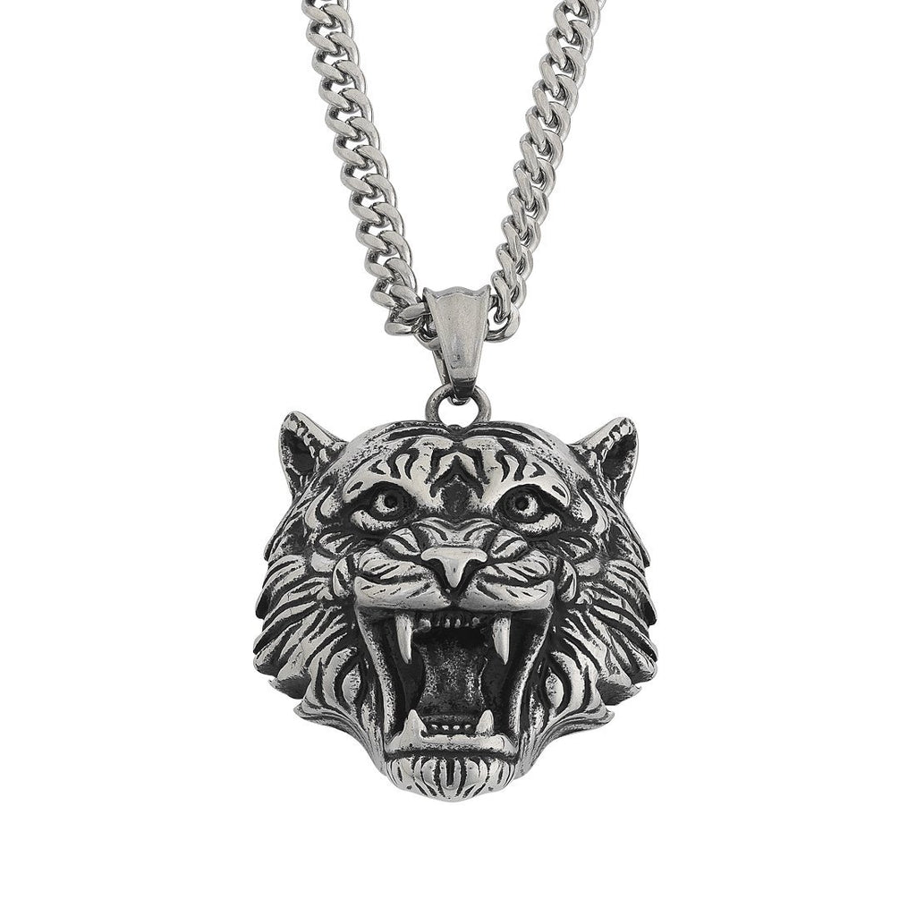 Stainless Steel Men's Tiger Necklace