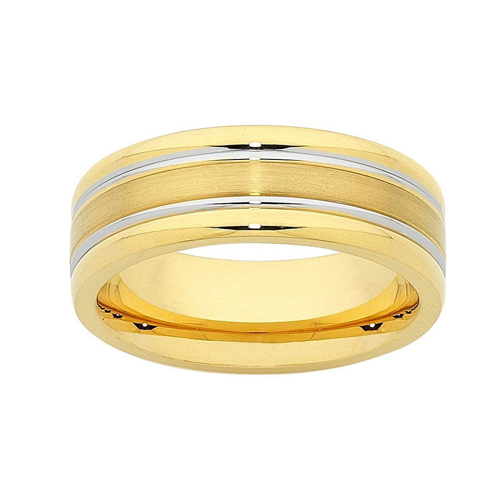 Stainless Steel 2 Groove Gold Colour Men's Ring