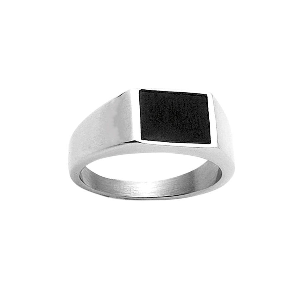 Men's Stainless Steel Black Plate Ring Rings Bevilles