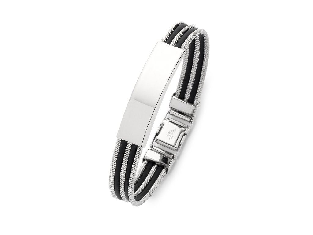 Stainless Steel ID Alternating Wire and Black Rubber Bangle Bracelets Bevilles