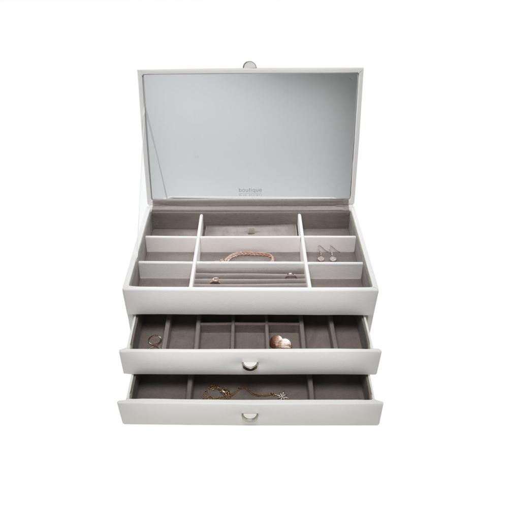 Boutique Jewellery Box - Large with 2 Drawers & Internal Mirror Jewellery Boxes Stackers