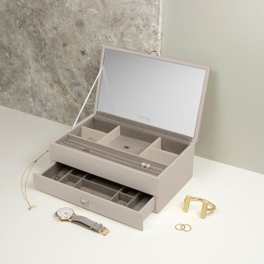 Boutique Jewellery Box - Medium with 1 Drawer & Internal Mirror Jewellery Boxes Stackers
