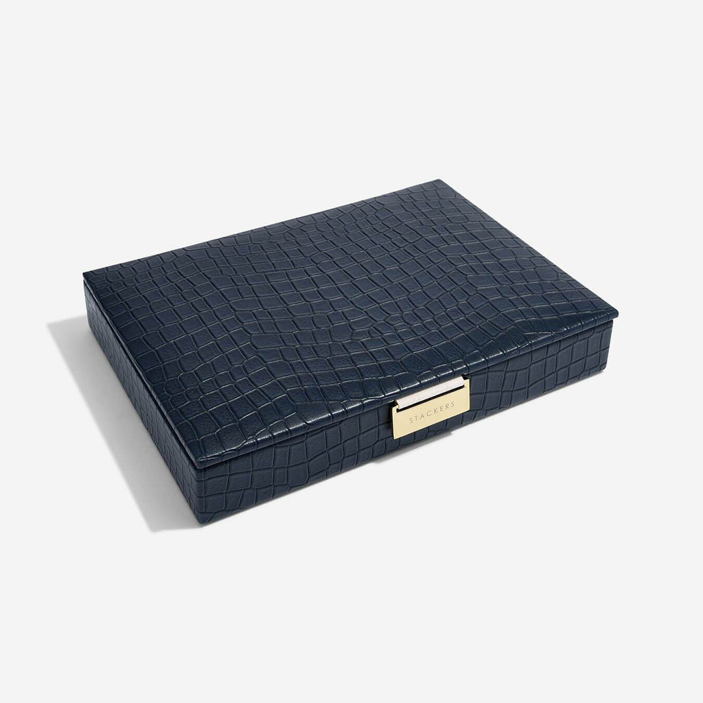 Stackers Classic Lidded Box - Navy Croc Jewellery Boxes STACKERS