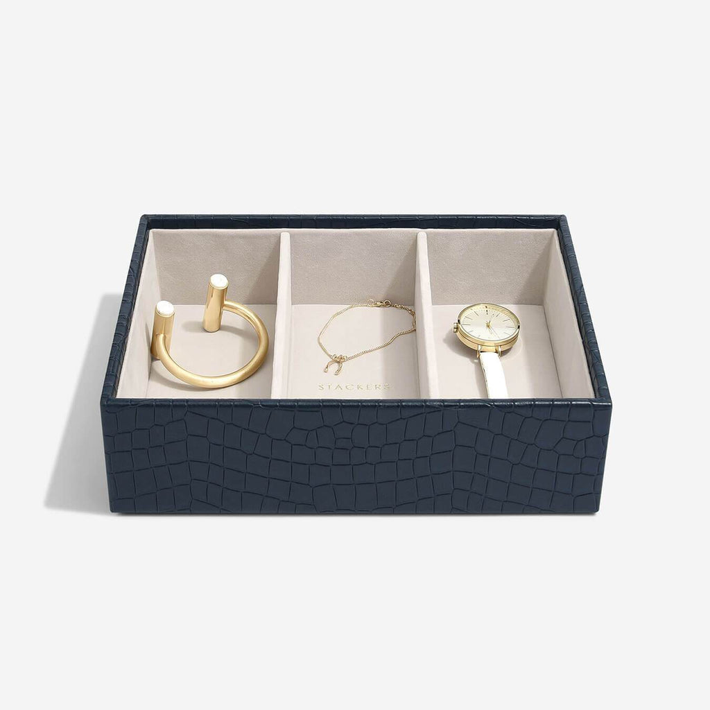 Stackers Classic Deep 3 Comaprtment Layer - Navy Croc Jewellery Boxes STACKERS