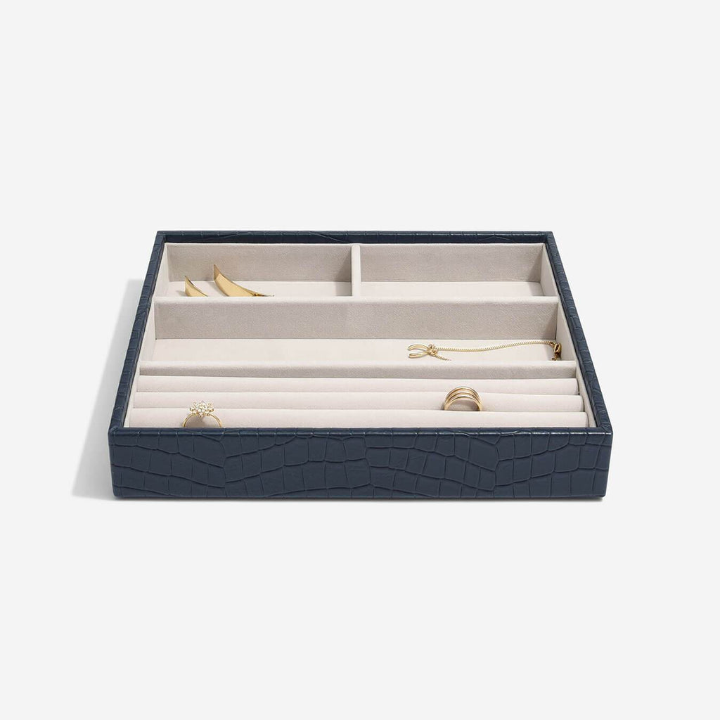 Stackers Classic 4 Compartment Layer - Navy Croc Jewellery Boxes STACKERS