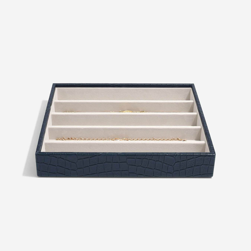 Stackers Classic 5 Necklace Compartment Layer - Navy Croc Jewellery Boxes STACKERS