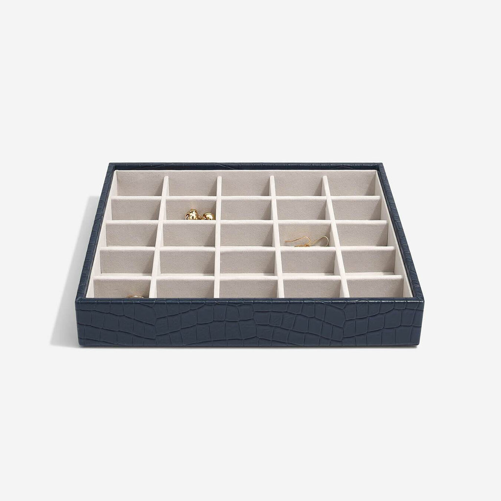 Stackers Classic 25 Compartment Layer - Navy Croc Jewellery Boxes STACKERS