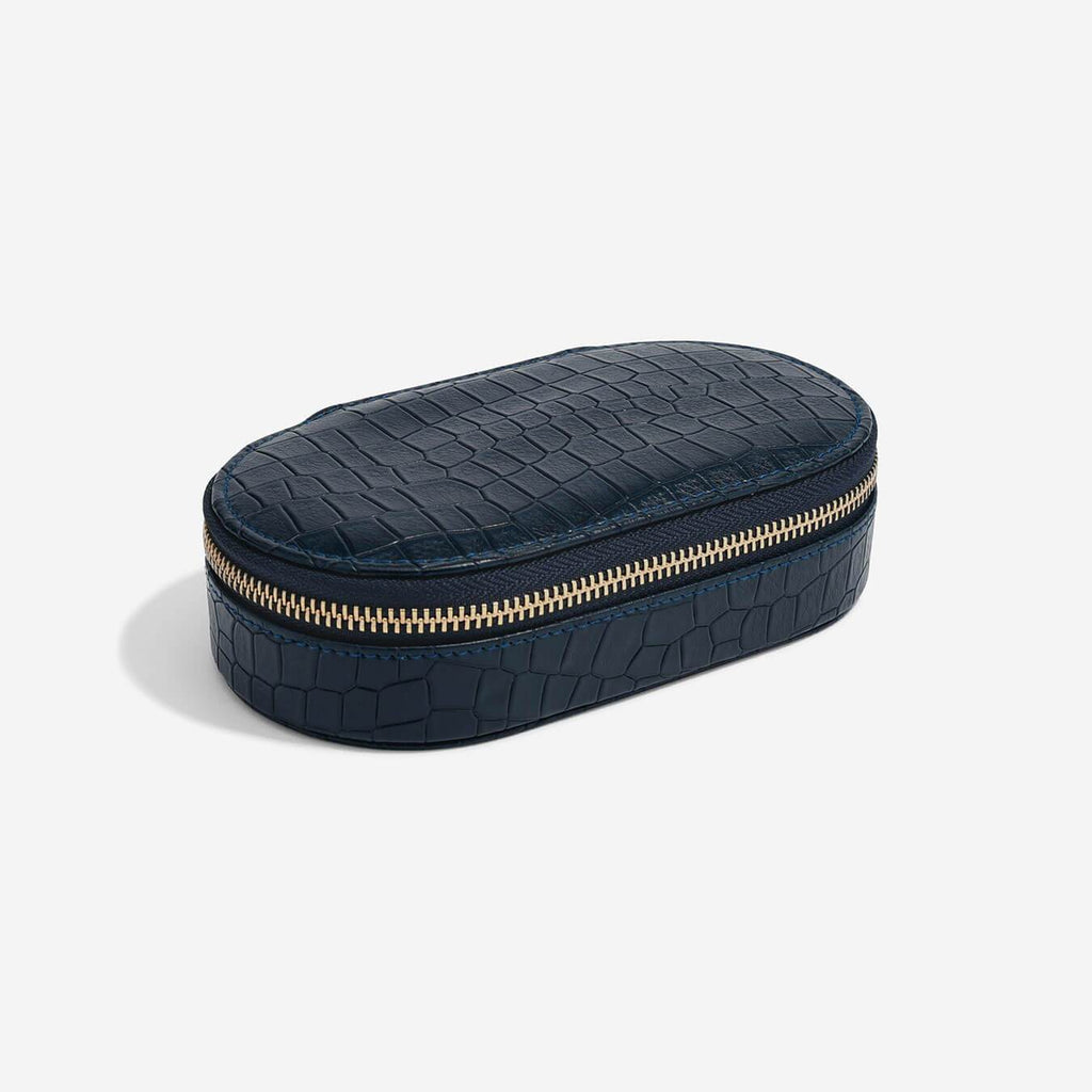 Stackers Medium Oval Travel Jewellery Box - Navy Croc Jewellery Boxes STACKERS