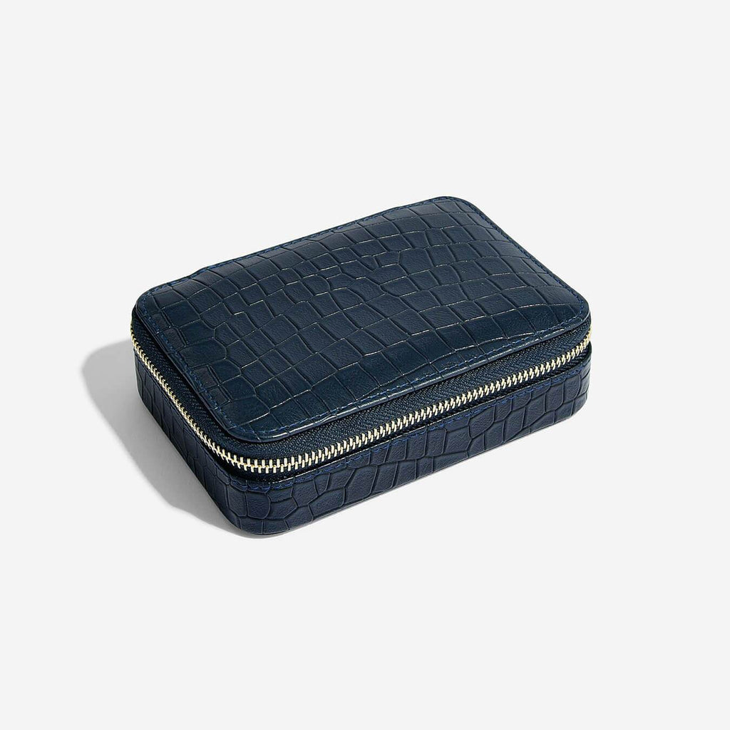 Stackers Medium Rectangle Travel Jewellery Box - Navy Croc Jewellery Boxes STACKERS