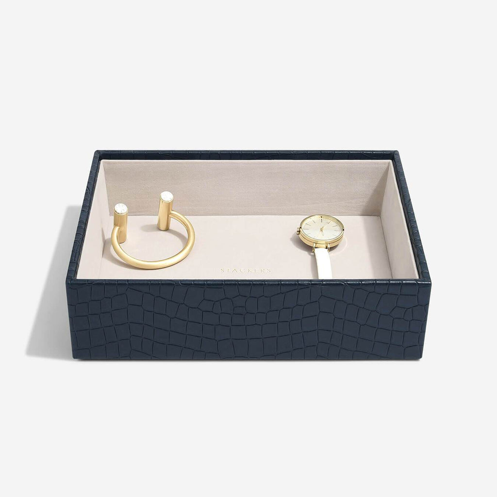 Stackers Classic Deep Open Layer - Navy Croc Jewellery Boxes STACKERS