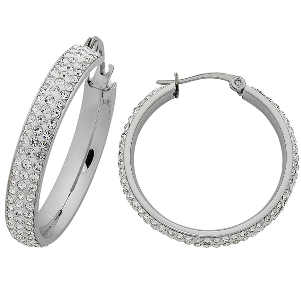 Stainless Steel Pave Crystal Hoop Earrings 30mm
