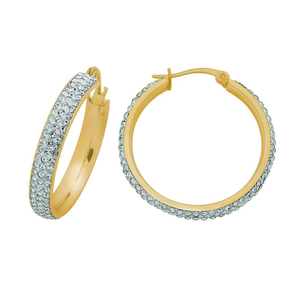Yellow Stainless Steel Pave Crystal Hoop Earrings