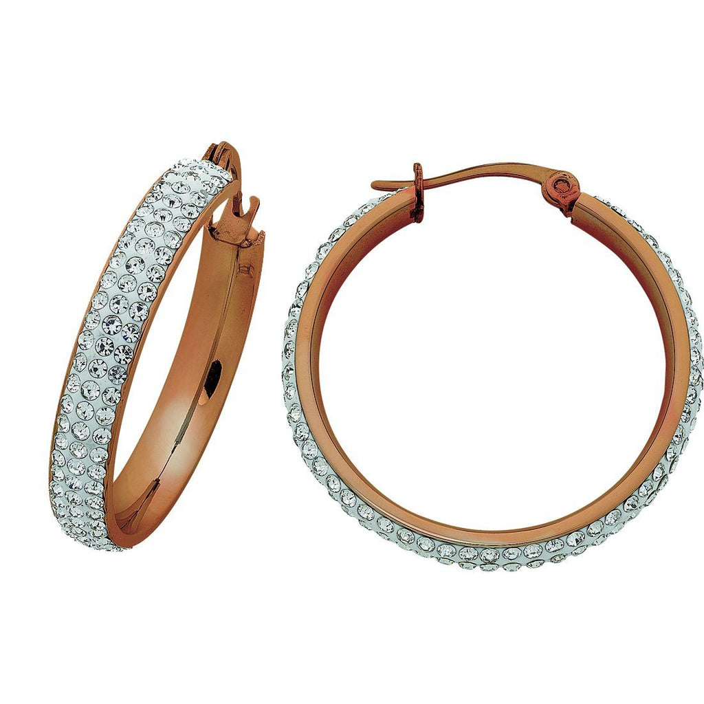 Rose Stainless Steel Pave Crystal Hoop Earrings