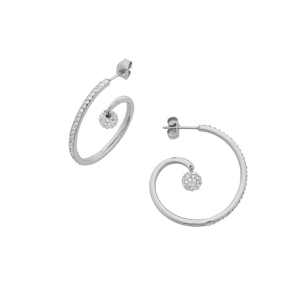 White Stainless Steel Open Swirl and Crystal Pave Ball Hoop Earring Earrings Bevilles