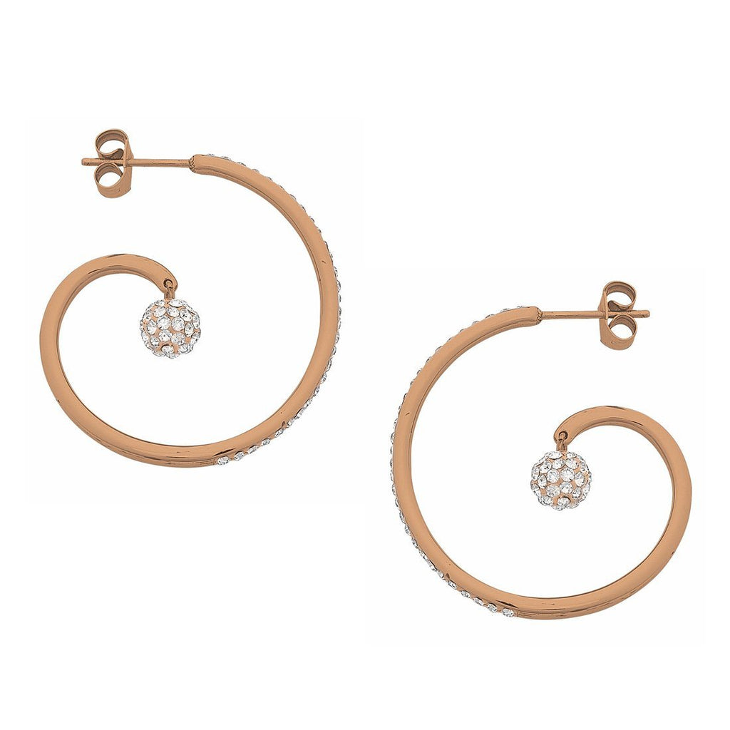 Rose Gold Stainless Steel Open Swirl and Crystal Pave Ball Hoop Earring Earrings Bevilles