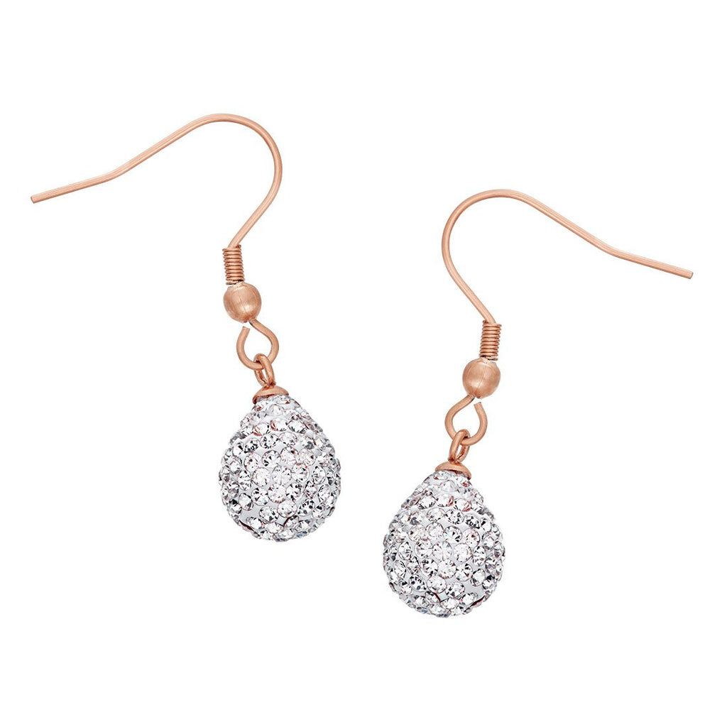 Crystal Teardrop Earrings in Rose Stainless Steel Earrings Bevilles