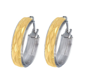 Yellow & White Stainless Steel Hoop Earrings