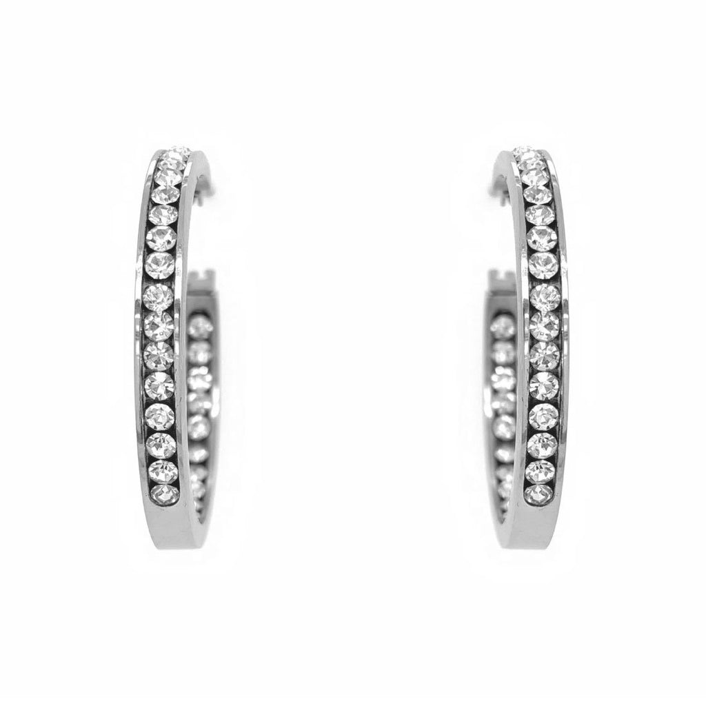 Stainless Steel Crystal Hoop Earrings Earrings Bevilles