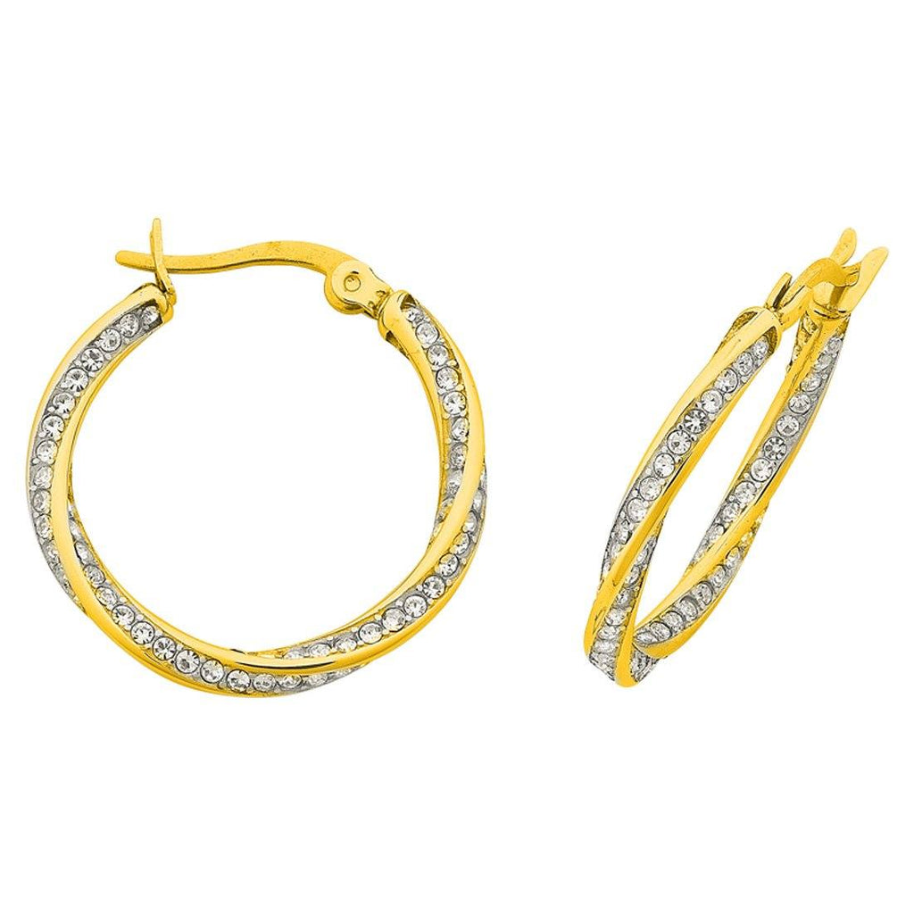 Stainless Steel Yellow Crystal Twist Hoop Earrings