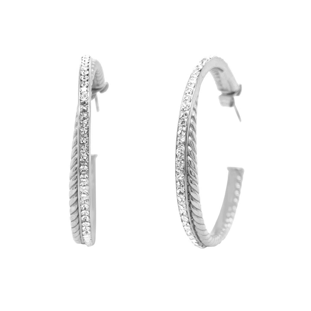 Stainless Steel Pave Crystal Double Hoop Earrings Earrings Bevilles