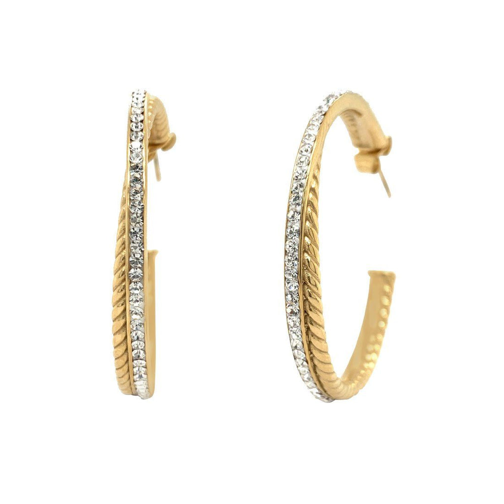 Yellow Stainless Steel Pave Crystal Double Hoop Earrings Earrings Bevilles