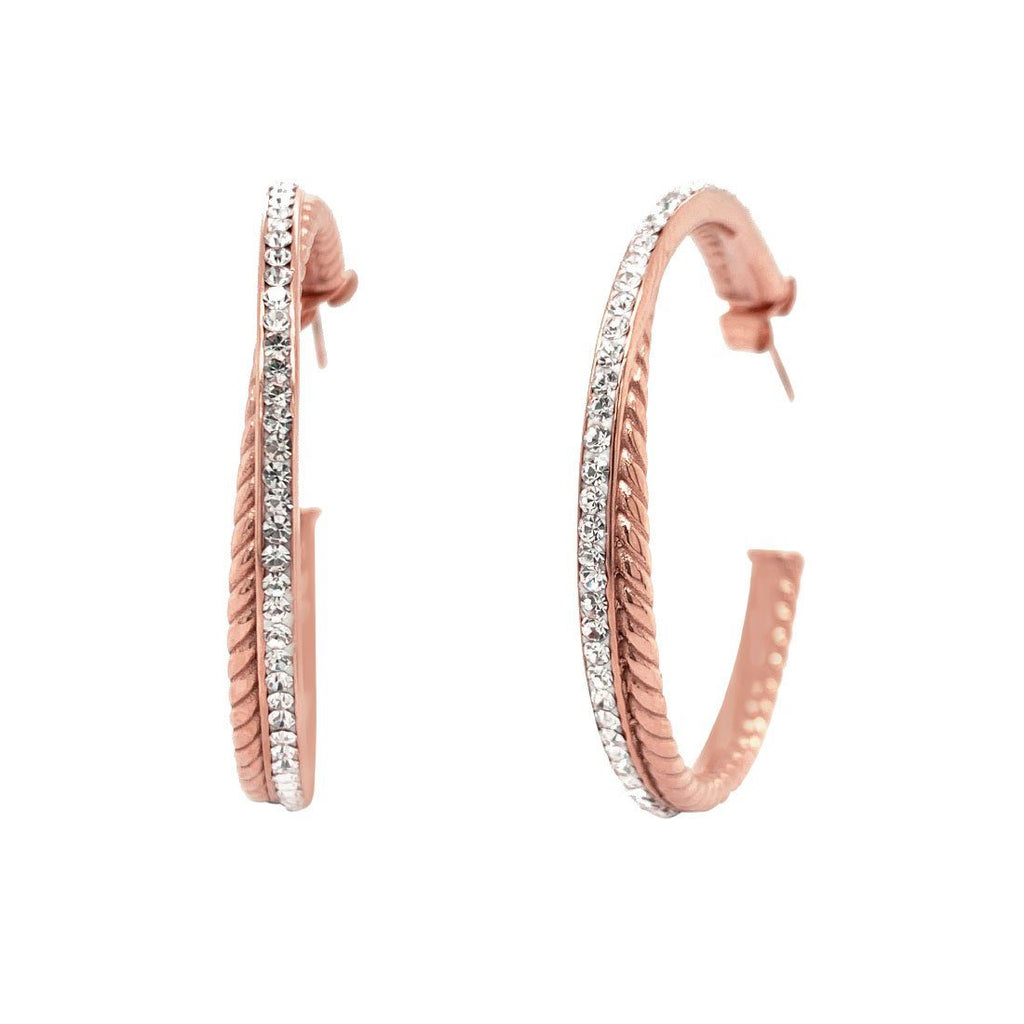 Rose Stainless Steel Pave Crystal Double Hoop Earrings Earrings Bevilles