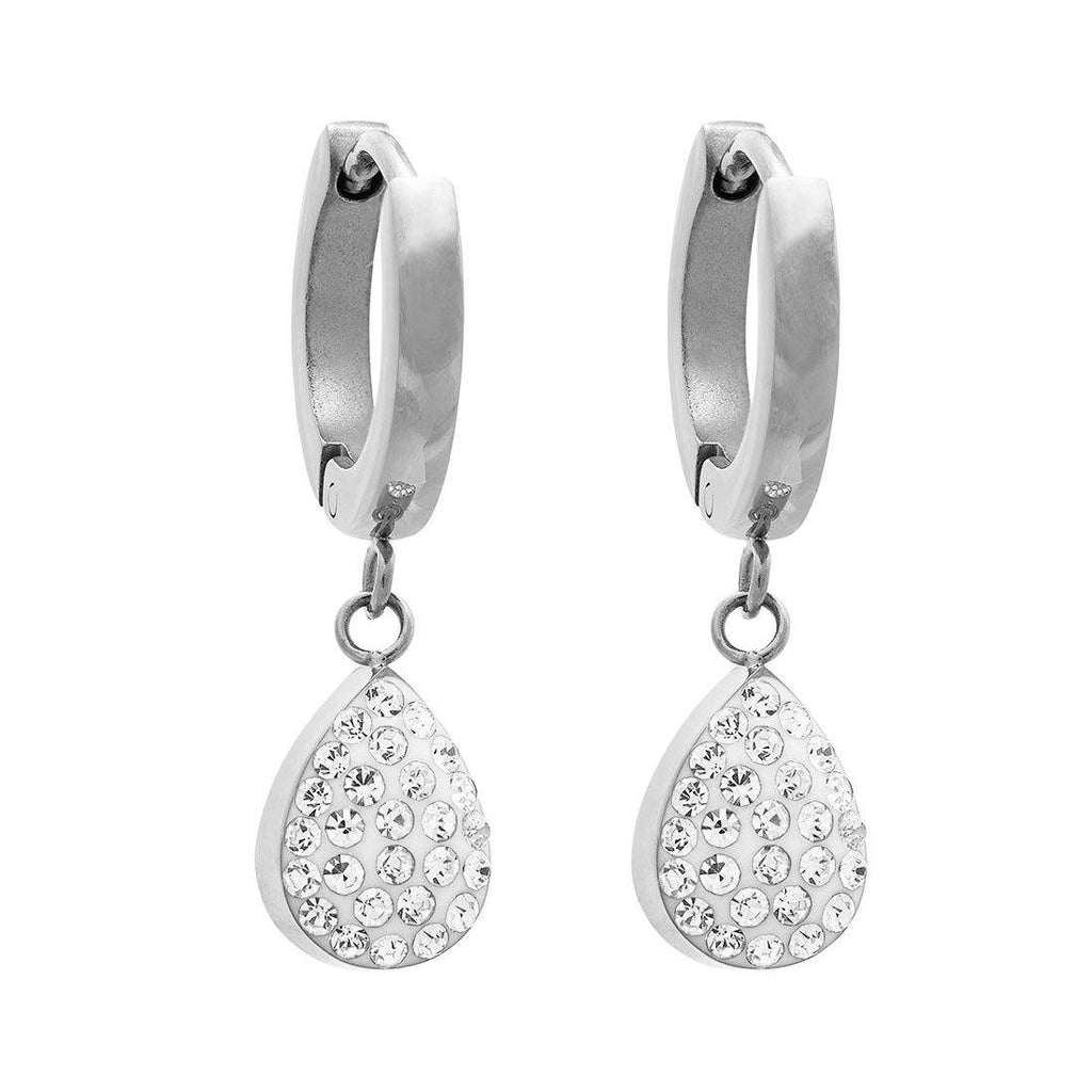 Crystal Puff Pear Hoop Drop Earrings in Stainless Steel Earrings Bevilles