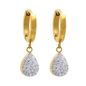 Yellow Stainless Steel Crystal Pear Drop Earrings