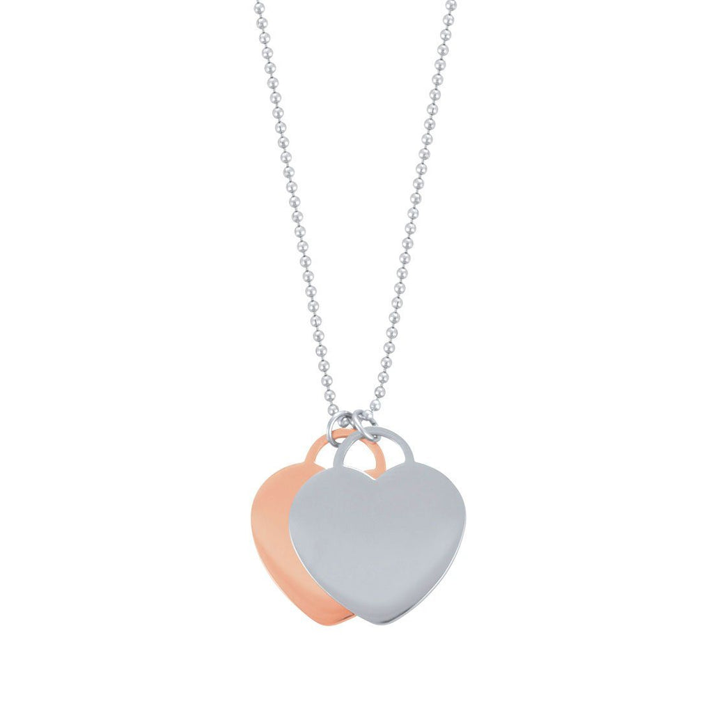 Rose & Silver Heart Disc Necklace in Stainless Steel Necklaces Bevilles