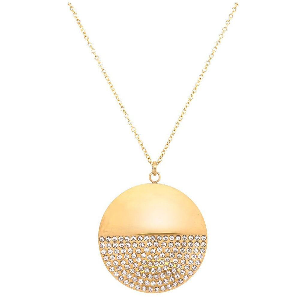 Yellow Stainless Steel Pave Crystal Necklace 70cm Necklaces Bevilles