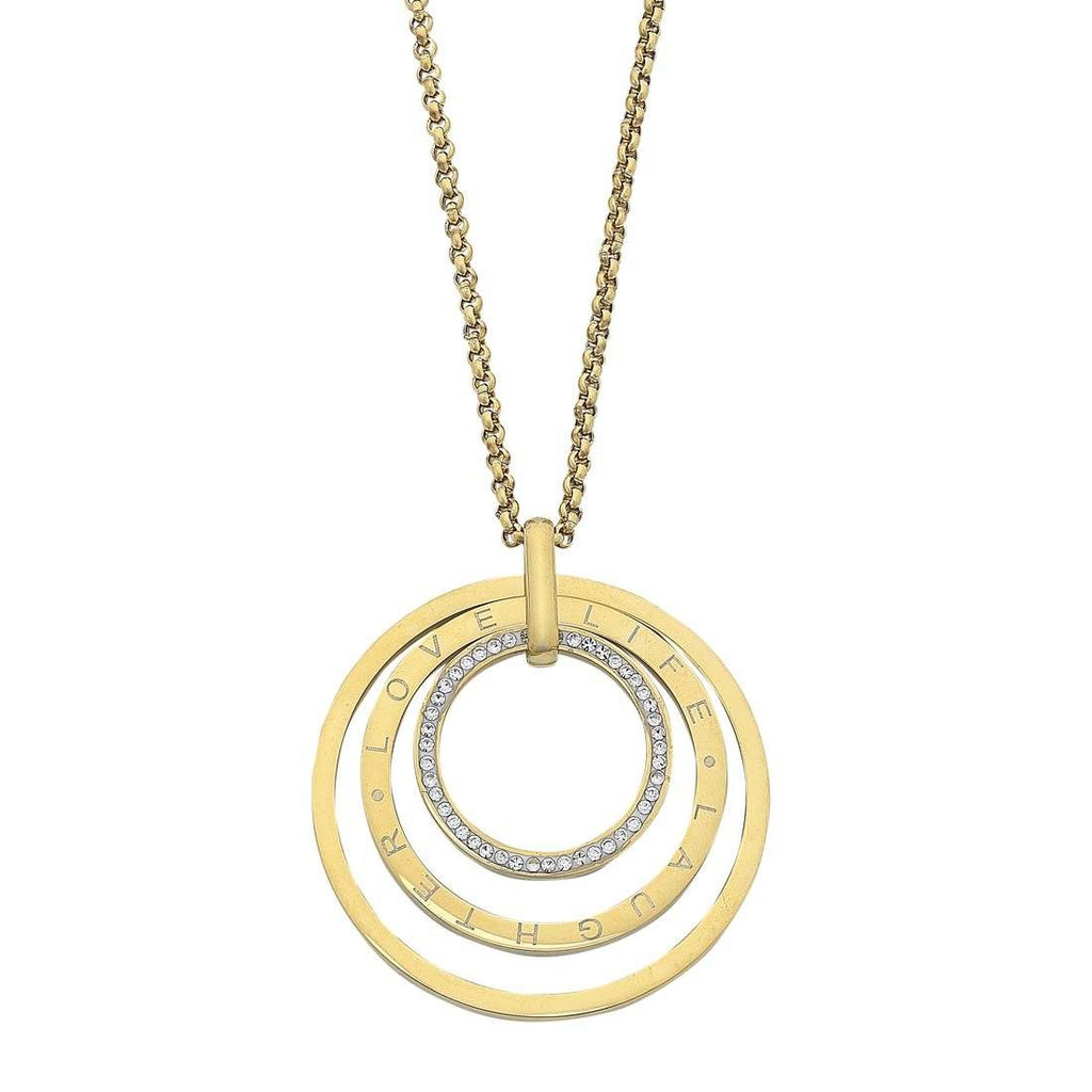 Yellow Stainless Steel Love Life Laughter Open Circle Necklace Necklaces Bevilles