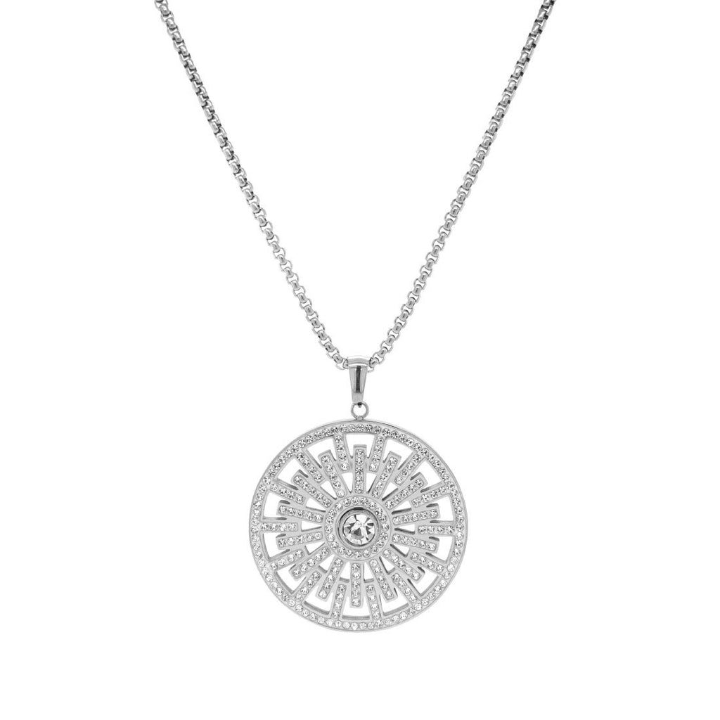 Crystal Geo Disc Necklace in Stainless Steel Necklaces Bevilles