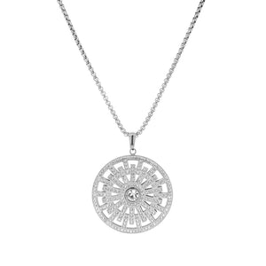 Crystal Geo Disc Necklace in Stainless Steel