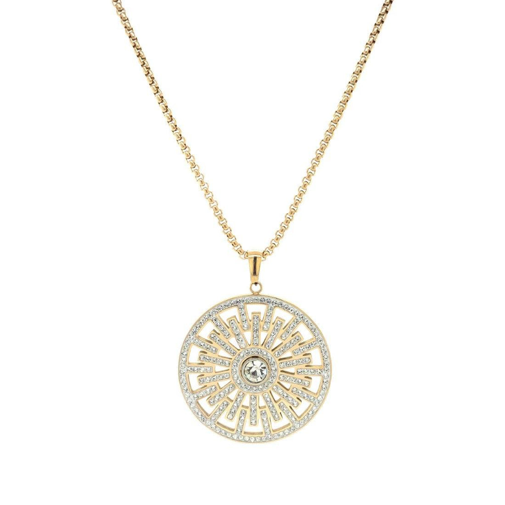 Crystal Geo Disc Necklace in Yellow Stainless Steel Necklaces Bevilles