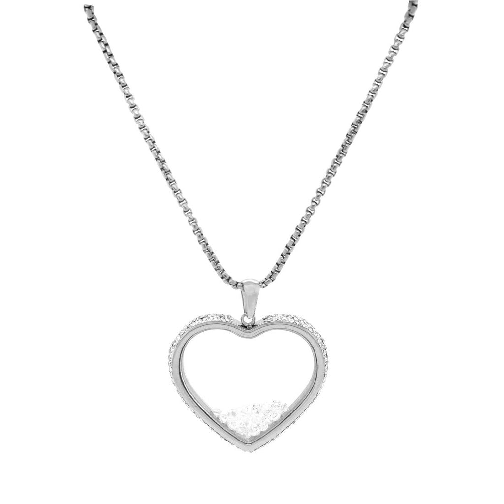 Crystal Heart Locket Necklace in Stainless Steel Necklaces Bevilles