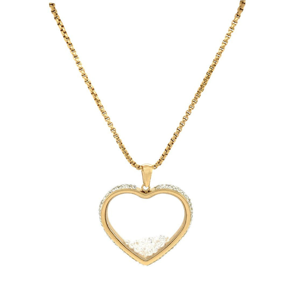 Crystal Heart Locket Necklace in Gold Stainless Steel Necklaces Bevilles