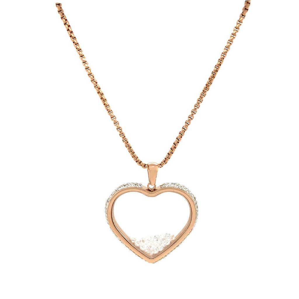 Crystal Heart Locket Necklace in Rose Stainless Steel Necklaces Bevilles