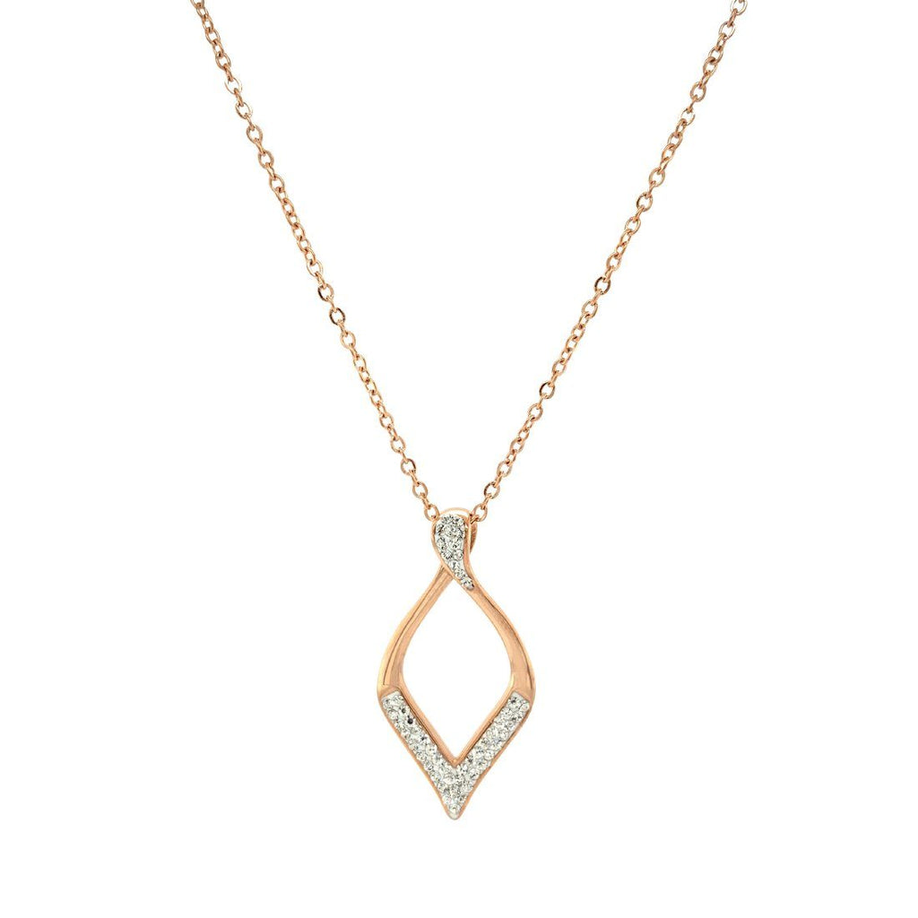 Pave Crystal Open Teardrop Necklace in Rose Stainless Steel Necklaces Bevilles
