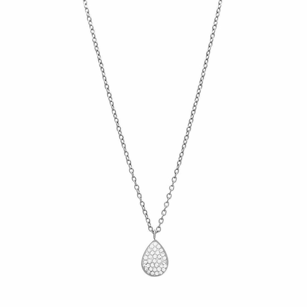 Puff Pear Crystal Necklace in Stainless Steel Necklaces Bevilles
