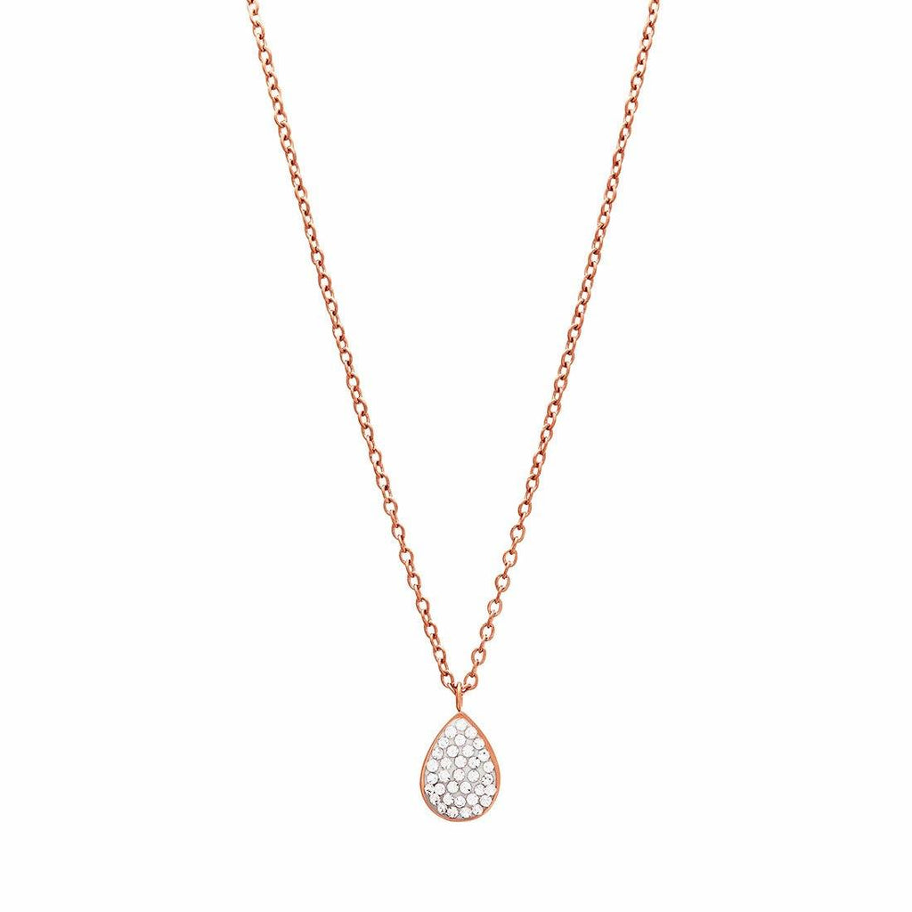 Puff Pear Crystal Necklace in Rose Stainless Steel Necklaces Bevilles