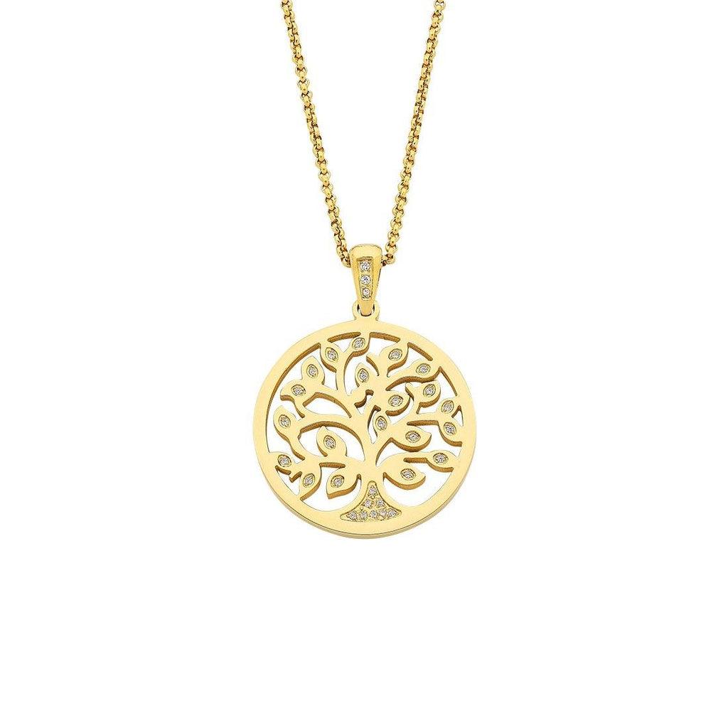 Stainless Steel Gold Colour Tree Of Life Necklace