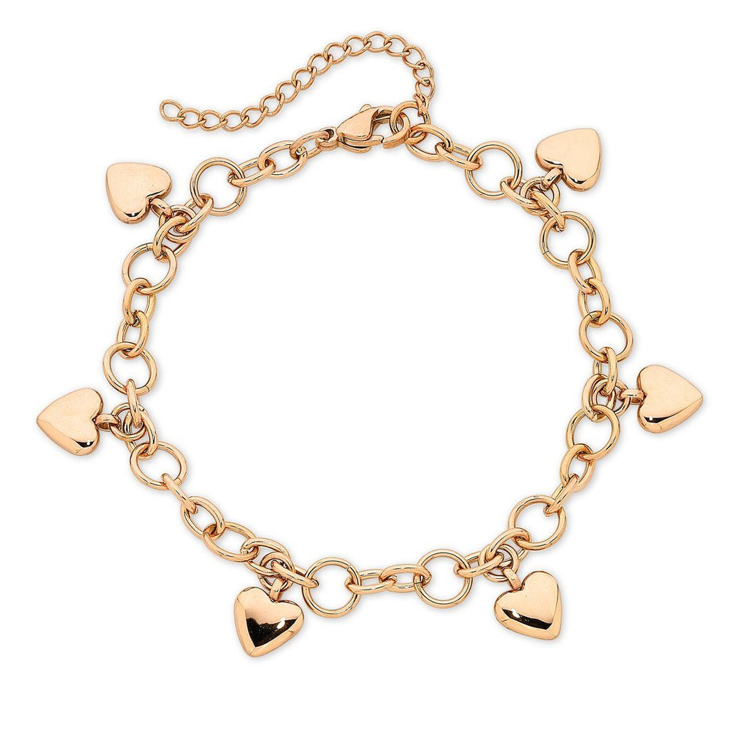 Stainless Steel Rose Colour Heart Charm Bracelet