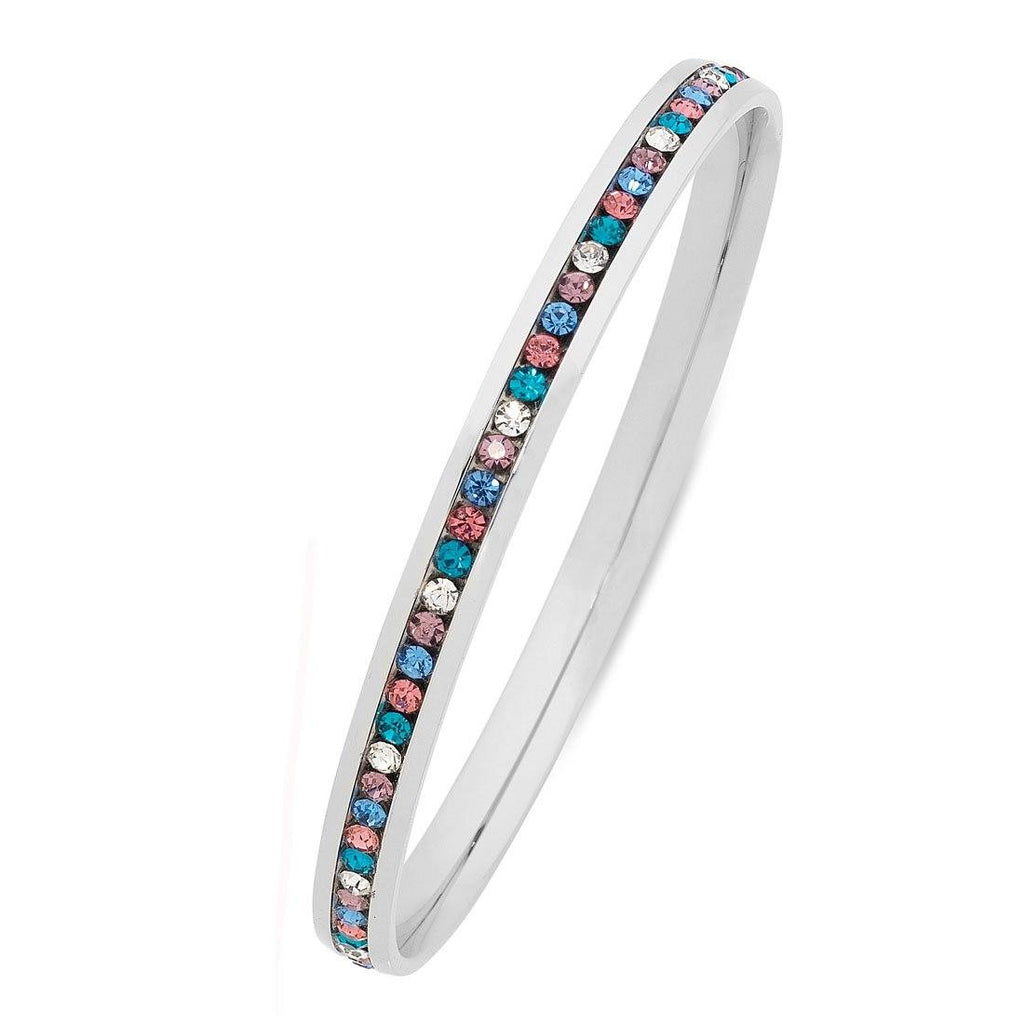 Stainless Steel Multicolour Crystal Bangle