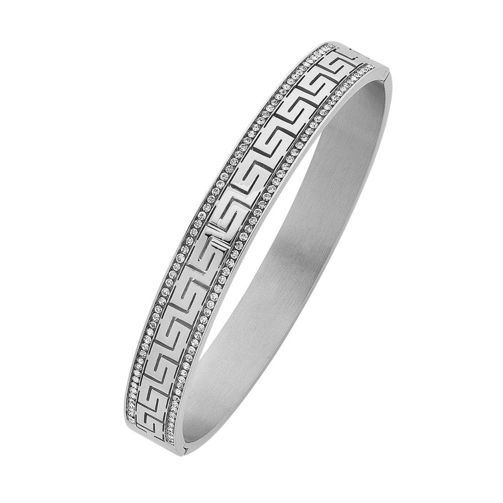 Stainless Steel Channel Crystal Bangle with Greek Design Bracelets Bevilles