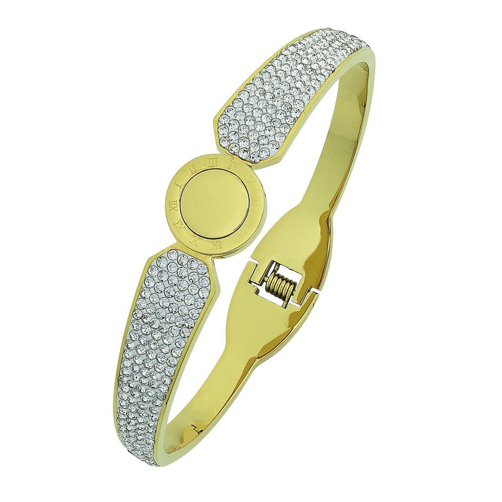 Stainless Steel Yellow Pave Crystal Bangle Bracelets Bevilles