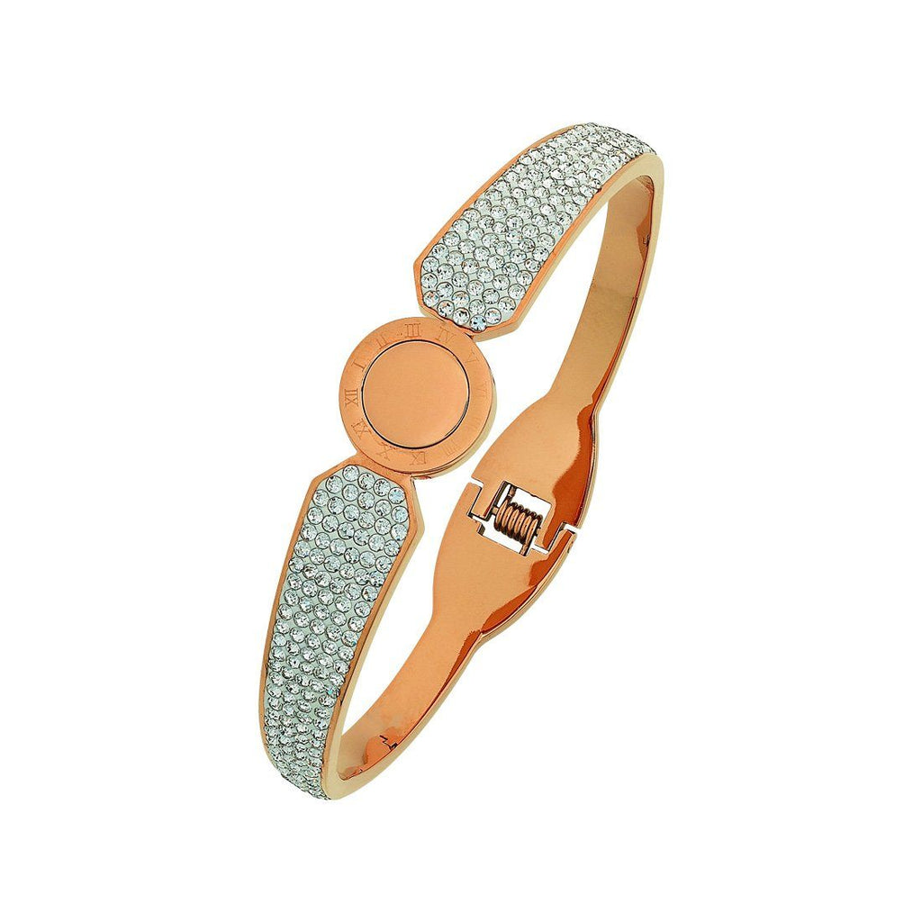 Stainless Steel Rose Pave Crystal Bangle
