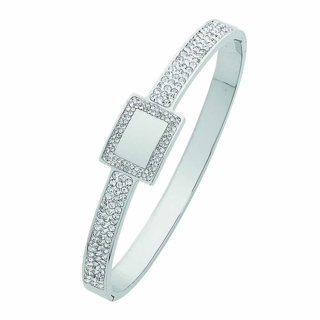 White Stainless Steel Pave Crystal Bangle with Square Feature