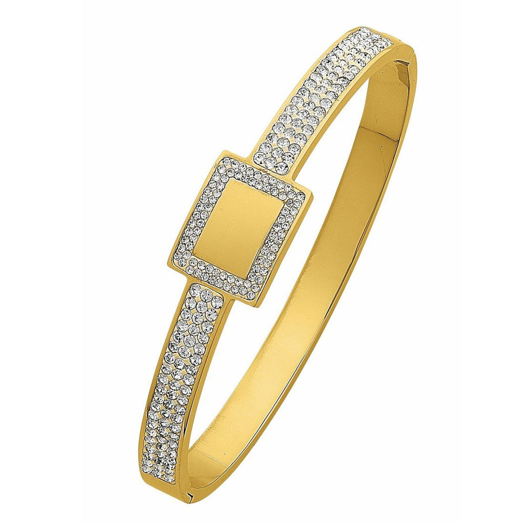 Yellow Stainless Steel Pave Crystal Bangle with Square Feature